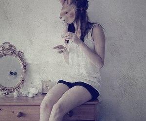 mask, girl, and mirror image