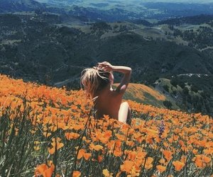 nature, girl, and flowers image