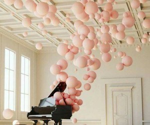 balloons, piano, and music image