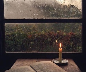 book, rain, and autumn image