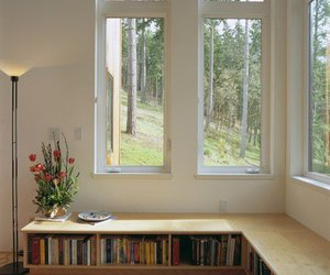 bookshelf, home, and window image
