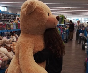 girl, happy, and teddy image