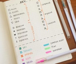 bullet journal, journal, and key image