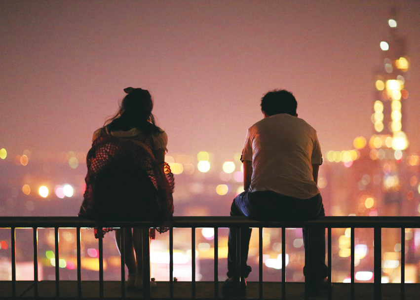 couple, city, and light image