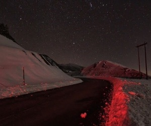 snow, red, and road image