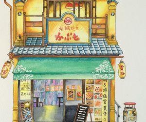 drawing, japan, and shop image