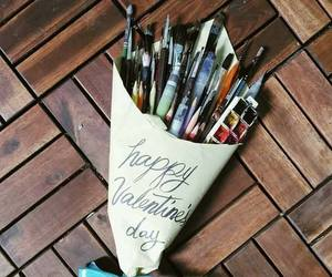 art, Brushes, and love image