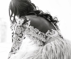 black and white, bride, and hair image