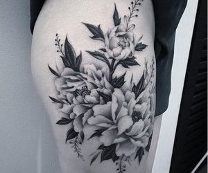flowers, ink, and tattoo image
