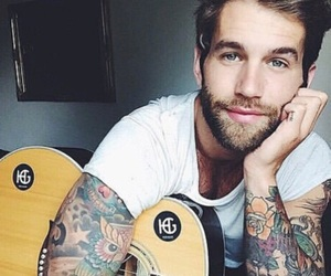 tattoo, boy, and guitar image