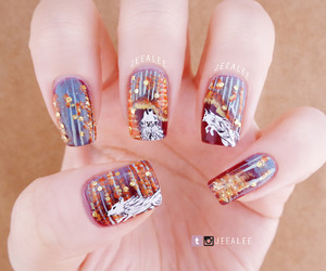 fall, forest, and nail art image