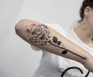 art, tattoo, and flower image