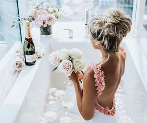 flowers, bath, and hair image