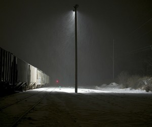 cold, photography, and railroad tracks image