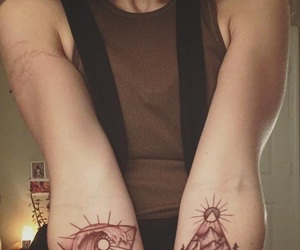 forearm tattoo, girl tattoo, and tattoo image