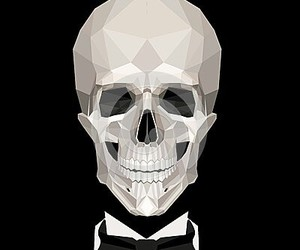 b&w, skulls, and smile image