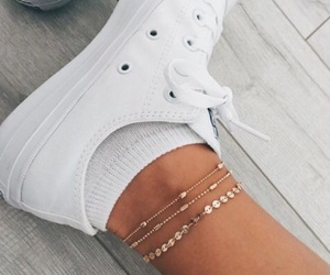 gold, jewelry, and ankle bracelet image
