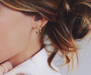 earings, gold, and hair image