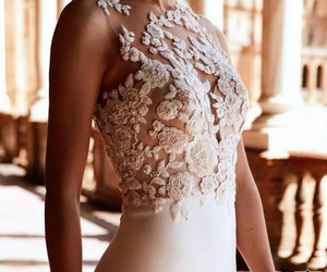 dress, girl, and weddingdress image