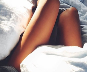 bed, legs, and girl image