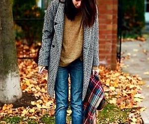 blue jeans, fall scarf, and fall outfit image
