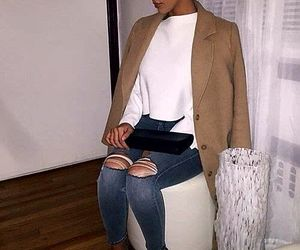 blue ripped jeans, black pumps, and white crop sweatshirts image