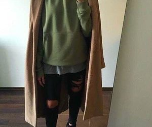 black combat boots, long wool blend coats, and black ripped jeans image