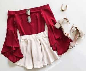 outfit, red, and white image