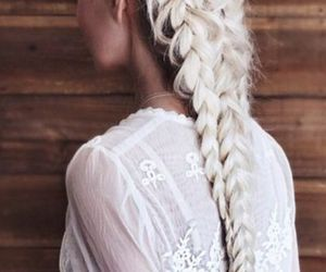 braids, hair style, and long hair image