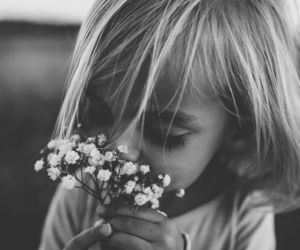 flowers, black and white, and child image