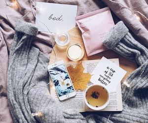 autumn, bed, and coffee image