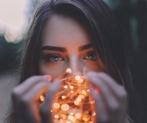 light, girl, and eyes image
