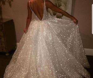 dress, white dress, and sparkling dress image