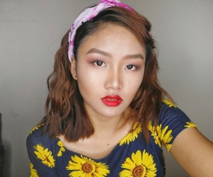 asian girl, curly hair, and red lip image