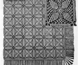 bedspread, crochet square, and crochet image