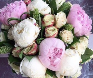flowers, peonies, and bouquet image
