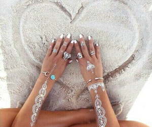 beach, hands, and heart image