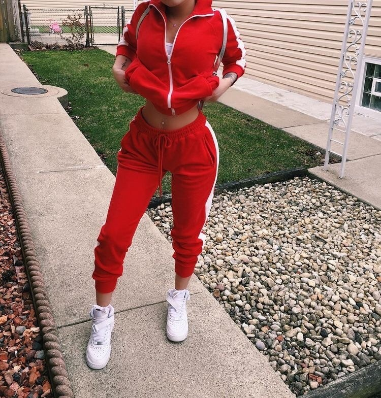 red, outfit, and clothes image