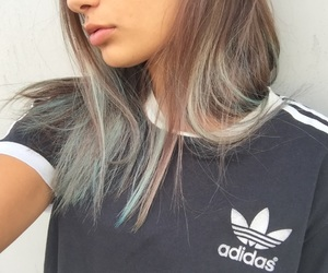 adidas, blue, and hair image
