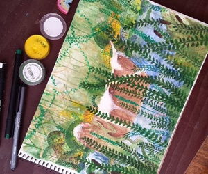 bath, green, and painting image
