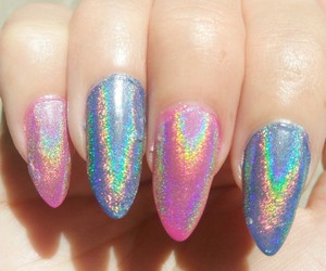 girl, holographic, and nails image