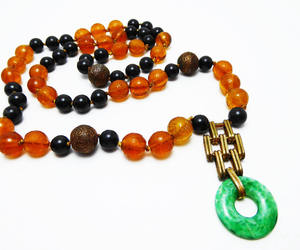 bead necklace, beaded necklace, and green glass image