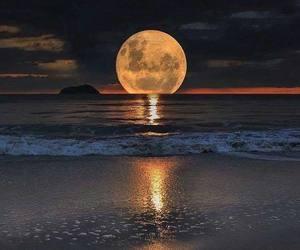 moon, beach, and night image