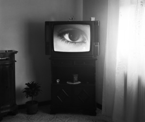 eye, black and white, and tv image