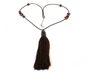 adjustable, brown leather, and long necklace image