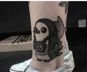 black, penguin, and tattoo image
