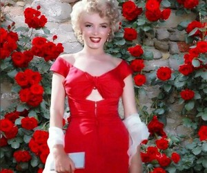 Marilyn Monroe, red, and red dress image