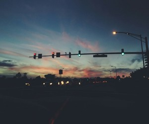 background, sunset, and blue image
