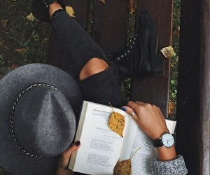 autumn, girl, and book image