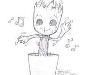 groot, cute, and drawing image